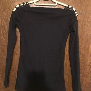 Tops - women black sexy top t-shirt small nwot